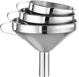 Utopia Kitchen 3 Piece Funnel Set with Handles Stainless Ste