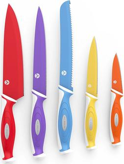 Vremi 10 Piece Colorful Kitchen Knife Set Sheath Covers Matc