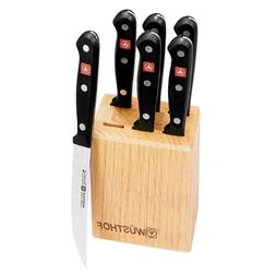 Wusthof Gourmet 7-Piece Steak-Knife Set with Wooden Block