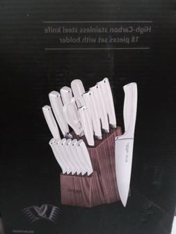 AILUKI Knife Set,19 Piece Kitchen Knife Set/ Block Wooden an