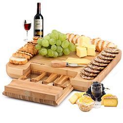 DRAGONN 100% Natural Bamboo Cheese Board & Cutlery Knife Set