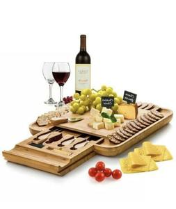 Bamboo Cheese Board with Cutlery Set, Wood Charcuterie Platt