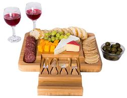 Bamboo Cheese Board with Cutlery Knife Set – Rectangle Woo