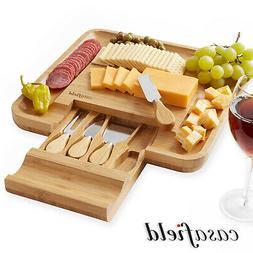 Bamboo Cheese Cutting Board Knife Gift Set Wooden Charcuteri