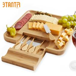 Bamboo Cheese Cutting Board Knife Set Wooden Charcuterie Mea