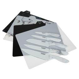 Cuisinart Ceramic Coated Marbled Knife Set with Cutting Boar