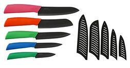 Melange 11-Piece Ceramic Knife Set with Multicolor Handle an