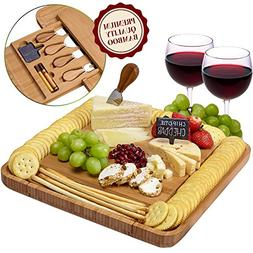 Cheese Board and Knife Set - Natural Crafted Bamboo Wood for