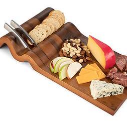 Large Cheese Board and Knife Set, Acacia Wood - Natural Wood