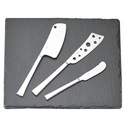 Gela Global Cheese Knives Set with Slate Tray, 10 by 14-Inch