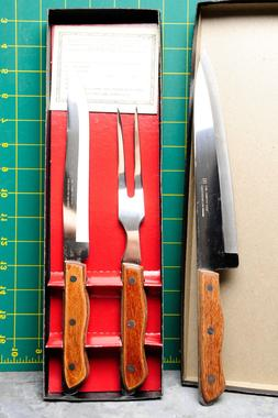 Maxam Chef Knife, Carving Knife, Serving Fork, Set with SIX