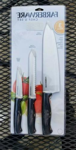 """FARBERWARE Chef Set 3 Pc High Carbon Steel 8"""" 5-1/2"""" And 3-1"""