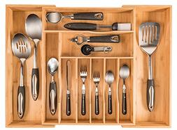 More Compartments, Organic Bamboo Utensil Organizer, Silverw