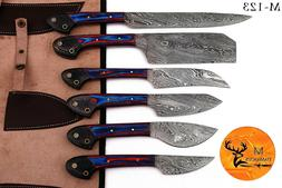 CUSTOM HAND FORGED DAMASCUS STEEL CHEF KITCHEN KNIFE SET WIT
