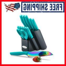 Cutlery Knife 14 Pc Set DISHWASHER SAFE Rainbow Titanium Coa