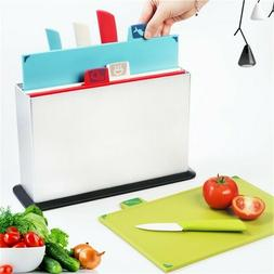 Cutting Boards Set with 4 Matching Ceramic Knives and Storag