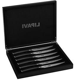 Damascus Steel Steak Knife Set 6 Pieces in Wooden Gift Box -