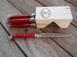 Dubost Laguiole 6pc steak knife set in block Red NEW France