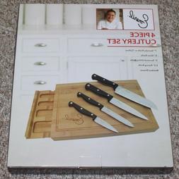 EMERIL 4-PIECE KNIFE SET - INCLUDES A BAMBOO CUTTING BOARD w