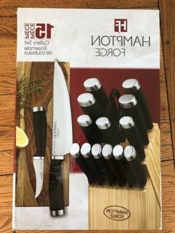 Hampton Forge Epicure 15 Piece Knife Wood Block Cutlery Set