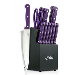 Ginsu® Essential Series 14-pc. Purple Cutlery Set with B