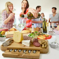 Exquisite Cheese Cutting Board & Knife Set - 6 knives & 6 Ta