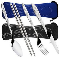 8 Pieces Flatware Sets Knife, Fork, Spoon, Chopsticks, SENHA