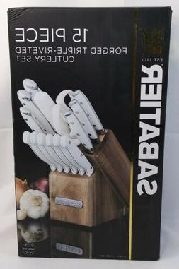 Sabatier Forged Triple Rivet Knife Block Set, 15-Piece, Whit
