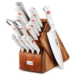 Wusthof Gourmet 16pc White Handle Knife Block Set - Acacia