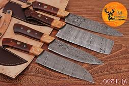 HAND FORGED DAMASCUS STEEL CHEF KNIFE KITCHEN SET WITH  WOOD
