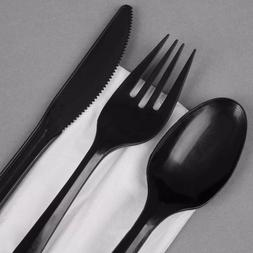 HEAVYDUTY Disposable BLACK Plastic Cutlery Set Knives Forks