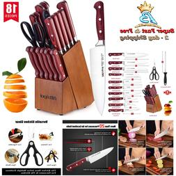 Kitchen Stainless Steel High Carbon Sharp Knife Set Wooden B