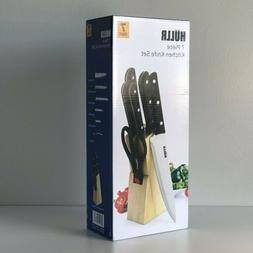 HULLR 7 Piece Kitchen Knife Set with Wooden Block