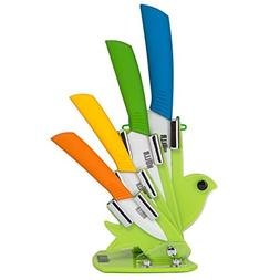 HULLR 6 Piece Ceramic Blade Multi Color Kitchen Knife Set Wi