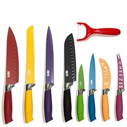 HULLR 7 Piece Kitchen Knife Set Stainless Steel Knives With