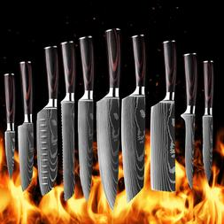 Kitchen Chef Knife Set Stainless Steel Laser Damascus Patter