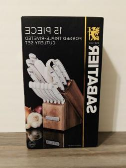 Kitchen Knife Block Set 15-Piece High Quality Forged Triple