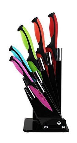 Kitchen Knife Block Set With Colour Coding - 5 Piece Coloure