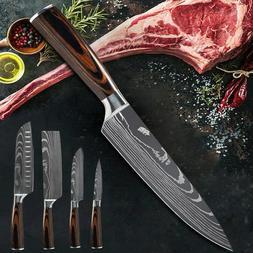Kitchen Knife Set 5 Pcs Damascus Pattern Sstainless Steel Ch