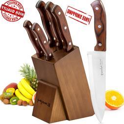 Kitchen Knife Set, 6-Piece Knife Block Set, Wooden Handle Kn