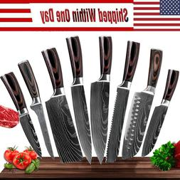 8 Pcs Professional Kitchen Knife Set Stainless Steel Damascu