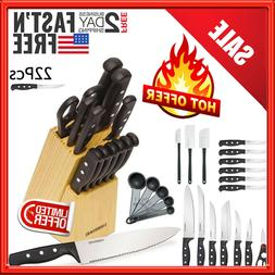 Knife Block Set Kitchen Sharpening Stainless Steel Chef Stea