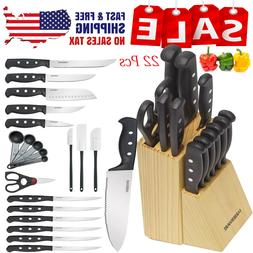 Knife Farberware Block Set Kitchen Sharpening Stainless Stee