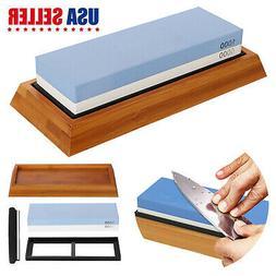 Knife Grit Sharpener Sharpening Water Stone Kit Set Dual Whe