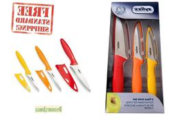 Zyliss 3 Piece Knife Set with Sheath Covers Paring Serrated
