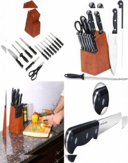 Utopia Kitchen Knife Set - 14 Piece Block with Walnut Staine