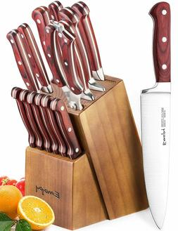 Knife Set, 15-Piece Block Wooden German Stainless Steel ROME
