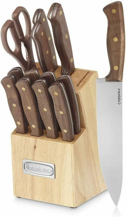 Knife Set, 15-Piece Kitchen Knife Set with Block Wooden Germ