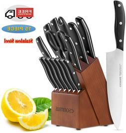 Kitchen Knife Set 15-Piece with Block Wooden, Knife Set Germ