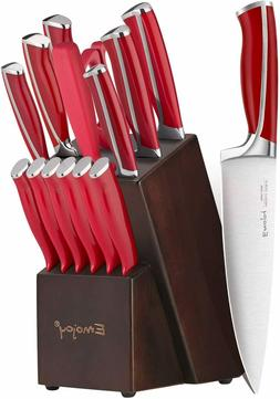 15-Piece Kitchen Knife Set with Block Wooden, Red Handle Che